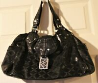 ROCAWEAR Handbag Black Silver Hardware Silver Lining Purse Shoulder Bag