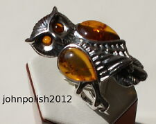 Gorgeous Cognac Baltic Amber Ring Owl with Silver 925