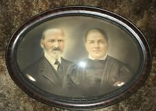 Large Oval Antique Convex Bubble Glass Wood Frame with Picture