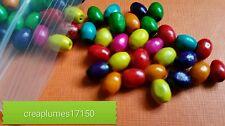 Lot de 100 perles en bois multicolore 6x4mm