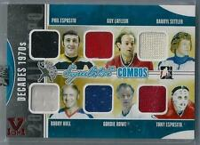 2012-13 IN THE GAME ESPOSITO/LAFLEUR/SITTLER/HULL/HOWE/ESPOSITO SIX JERSEY 1/1!!