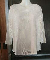 WOMEN'S LUCKY BRAND IVORY OFF WHITE 3/4 SLEEVE EMBROIDERED BOHO TOP SIZE L