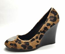 Womens Shoes Tory Burch Leopard Fur Wedges High Heels Slip On Leather Size 7 US
