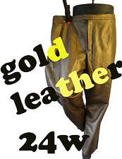 GOLD leather pants 24w 44 waist flat slack biker motorcycle steampunk brass punk