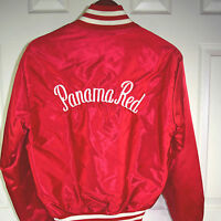 NWOT vtg 70s Embroidered Panama Red Marijuana Satin Jacket Sz S/M peace pot leaf