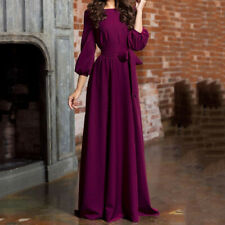 CA Women Casual O-Neck Long Lantern Sleeve Solid Mid-Waist Party Dress Fashion
