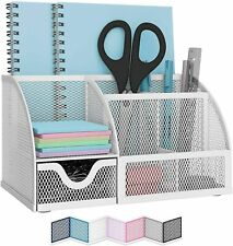 White Metal Mesh Desktop Organizer For Small School Office Supplies Storage