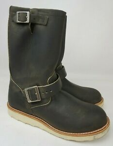 """Red Wing 11"""" Engineer 2989 Men's Charcoal Rough & Tough Leather Boots Size 8 D"""