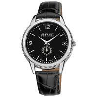 New Men's August Steiner AS8020SS Silver-tone Swiss Quartz Black Leather Watch