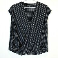 Forever New Womens Black/White Spotted Short Sleeve Crossover Blouse Top Size 16