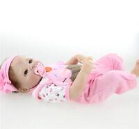 """23"""" Full Body Silicone Reborn Baby Girl Doll Handmade Soft Newborn Bath Toy Gift"""