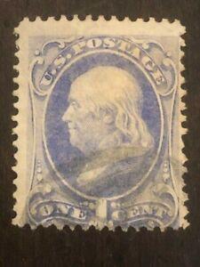 US Stamp Scott #134 1c Ultramarine Franklin Grill w/ Cancel SCV - $200