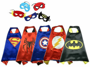 Kids Boys Girsl Superhero Cosplay Cape And Mask Dress Up Theme Party Fancy Capes