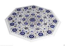"24"" Marble Coffee Table Top Lapis Lazuli Pauashell Inlay Semi Precious Stone"