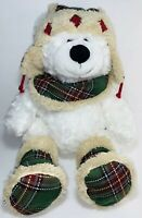 Hug Fun International Soft White Teddy Bear With Winter Outfit Stuffed Plush 18""