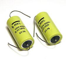 2 pcs Siemens MKL Capacitor f. Klangfilm Speaker X-Overs, 10 µF, 100 VDC, NOS