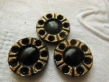 trio cabujones vintage vidrio a strasser negro dorado antiguo 1,8 cm joyería R