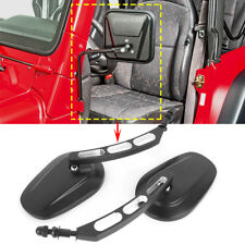 Side View Door Hinge Mirrors for Jeep Wrangler JK CJ YJ TJ Edge Cut Black Mirror