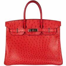 657ca8ad1732 57619 auth HERMES Rouge Vif OSTRICH leather   Palladium BIRKIN 35 Tote Bag