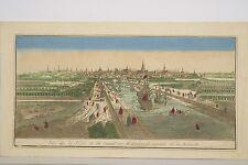Vue d'optique XVIII° Ville et Canal de Middelburgh capitale de Zélande Pays-Bas
