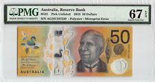 New ListingAustralia 2018 Pmg Superb Gem Unc 67 Epq 50 Dollars (Microprint Error)