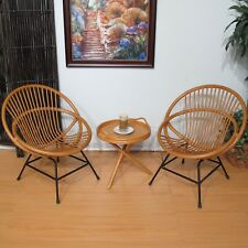 Rattan Chairs and Table Set of 3 (Honey finish)