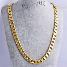 "Curb Gold Jewelry 24"" Cuban 18K Filled Chain Stainless Necklace Men's Boy Steel"