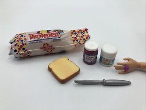 Barbie Kitchen Littles WONDER BREAD GRAPE JELLY PNUT TOAST Food Accessories