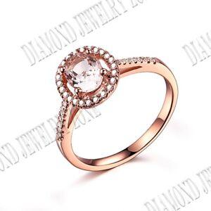 Fine Jewelry 18k White Gold Oval 7x5mm Morganite SI/H Diamond Gemstone Ring Gift