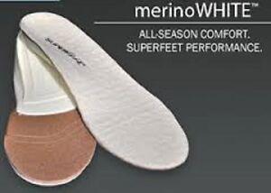 SUPERFEET MERINO WHITE INSOLE 2.5 3 4 35 36 37 B IDEAL FOR WINTER SHEEPSKIN BOOT