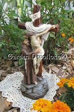 "Stunning 12"" ST. FRANCIS OF ASSISI AND JESUS ON CROSS Chalkware Statue *IMPORT*"