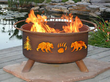 ~ GRIZZLY BEAR OUTDOOR HAND MADE STEEL FIREPIT GRILL ~