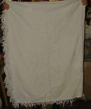 "ANTIQUE Marcella Marseillaise White on White Woven Bedspread Coverlet 70"" x 92"""