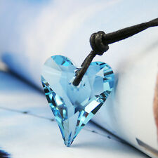 Saphir hellblau groß Liebe Herz Halskette Anhänger mit Swarovski