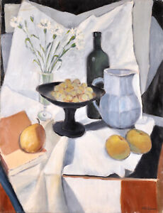 HENRI VALACHMAN (1925-2020) LARGE SIGNED FRENCH OIL - STILL LIFE FRUITS TABLE