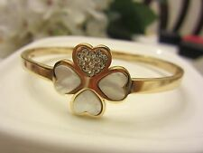 Clover Shell Inlay Bangle Bracelets 18Kgp Gold Stainless Steel Cz