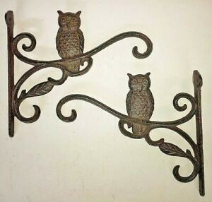 "2 OWL Plant Hanger flower basket holders up to 16"" pot lantern hook brown bronze"