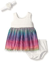 The Children's Place Baby Girls' Sleeveless Dress and Bow Set, Size 0-3 Months
