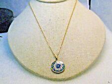 "Vintage Millefiori Floral Glass Necklace, 18"" Signed AMV, .925"