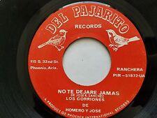 """LOS GORRIONES de HOMERO y JOSE - No Te Dejare Jamas RARE 70's CUMBIA RANCHERA 7"""""""