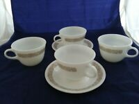4- Vtg Corelle Pyrex Woodland Brown Floral White Mug Coffee Tea Cup D Handle
