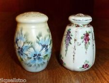 2 Antique China Handpainted Salt Shakers - 1 Marked Bavaria/1 Unmarked
