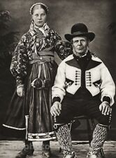1924 Vintage SCANDINAVIA Norway Peasant Woman Man Costume Holiday Dress Photo