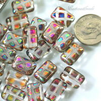 Rectangle Beads, Chicklet Beads, 8x12mm, Czech Glass, Multi Colored, 12 Pieces