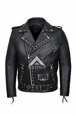 Mens Brando PERFECTO Jacket Studded Biker Racer Classic Real Cowhide Jacket MBF