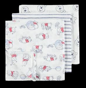 Disney Unisex Winnie the Pooh Pattern Muslins Baby 3 pack of Squares