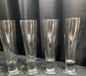 VINTAGE PILSNER BEER GLASSES x4