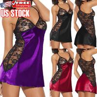 Sexy Womens Silk Lace Robe Dress Strappy Lingerie Babydoll Nightdress Sleepwear