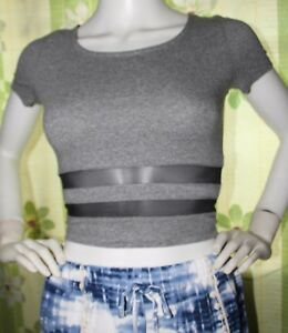 dgoodthings:NEW Divided by H&M sexy scoopback fitted crop top w/mesh detail(XS)