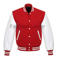 Varsity Jacket Letterman Baseball Red wool and Genuine White Leather Sleeves